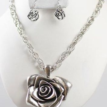 Rose Chain Pendant Necklace & Earring Set - Antique Silver Plated