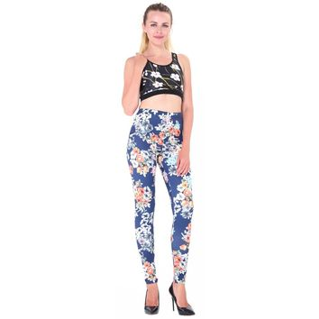 Spring Autumn Winter New Thick Leggings Flower 3D Pinting Spandex Legging Fitness Pants Women Workout Clothes Activewear Ladies