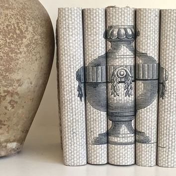 Interior design - Decorative books - Neutral books - Urn - Custom book covers - Custom book jackets - Bookshelf decor - book lover - Wedding