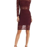 Red Mock Neck Lace Bodycon Dress by Charlotte Russe