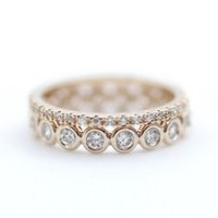 Stacking Cubic Zirconia band ring 2 Set in Rose Gold