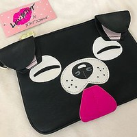 NWT Betsey Johnson Black Dog Wristlet Cutch Bag
