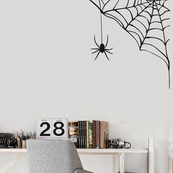 Vinyl Wall Decal Spider Web Funny Halloween Decorating Room Stickers Mural Unique Gift (ig5144)