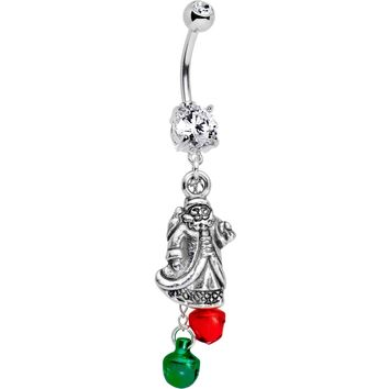 Old Saint Nick Dangle Belly Ring Created with Swarovski Crystals