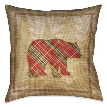 Country Cabin Bear Plaid Indoor Decorative Pillow