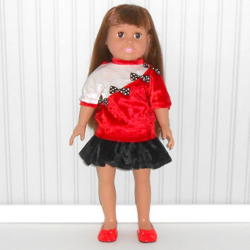 18 inch Girl Doll Clothes Black Skater Skirt with Red and White Top American Doll Clothes