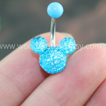 Disney Mickey Mouse Blue Crystal belly button ring,Stud Bar Barbell Navel Piercing Ring Stud Piercing