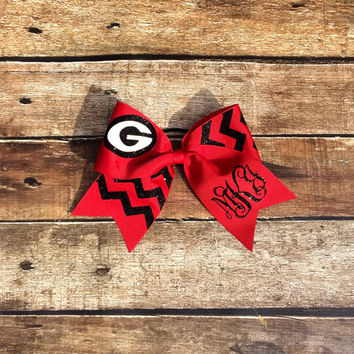 Custom Glitter Cheer Bow, You choose Team Mascot, Monogram, Black, Red, Chevron, Cheer bow