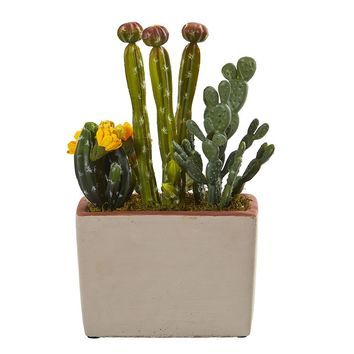 Silk Flowers -Mixed Cactus With Decorative Planter Artificial Plant