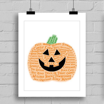 Happy Halloween Pumpkin Word Art Print - Halloween Themes Printable Holiday Home Decor Wall Art (JPG/PDF) 8x10