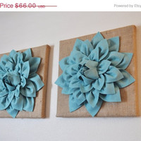 "MOTHERS DAY SALE Two Wall Canvases -Dusty Blue Dahlia Flowers on Burlap 12 x12"" Canvas Wall Art- Rustic Home Decor-"
