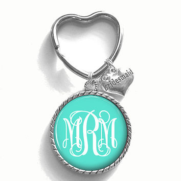 Bridesmaid Gift, Monogram Key Chain, Personalized Keychain, Wedding Party Gift, Style 382