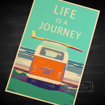 Life Is A Journey Vintage Travel Surf Beach Poster Retro Canvas Painting DIY Wall Stickers Art Home Bar Posters Decor Gift