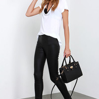 Glamorous Greased Lightnin' Black Vegan Leather Pants