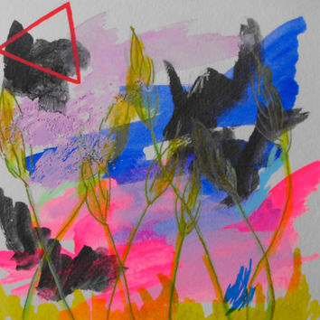 Mixed media, Drawing, Gouache, Plants, Original, Paper, Small, Watercolour, Fluorescent, Triangle, Sketch, Pink, Artwork, Blue, Red,Graphite