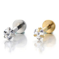 Steel Lip Stud Ring with Heart Cubic Zirconia Piercing Labret Monroe Bar Chin Tragus Body Jewelry(Silver)