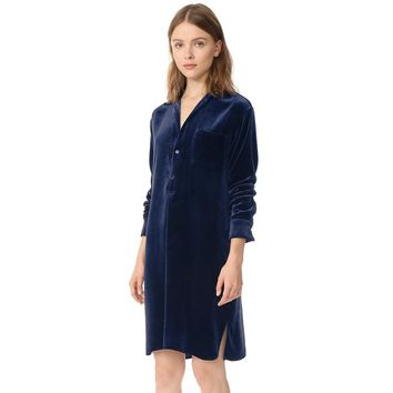 Fashion cute slim solid color long sleeve  blue woman's Casual velvet dress