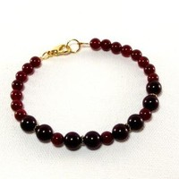 Mens Burgundy Cherry Blast Beaded Bracelet