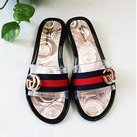 GUCCI New Popular Women Casual Stripe Transparent Camellia Flat Beach Home Sandal Slipper Shoes I13183-1