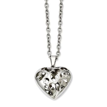 Stainless Steel Puffed Heart 20in Necklace