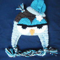 Crocheted Drowsy Owl with Night Cap Baby Beanie - MADE TO ORDER - Handmade by Me
