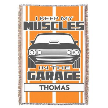 I Keep My Muscles In The Garage Muscle Car Grey Throw