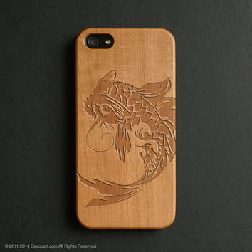 Real wood engraved koi pattern iPhone case S035