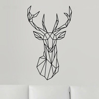 2016 New Design Geometric Deer Head Wall Sticker Geometry Animal Series Decals 3D Vinyl Wall Art Custom Home Decor Size 51x86 cm