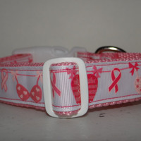 Dog Collar   * BREAST CANCER *  Hope * Love * Courage* Bra * buckle dog  collar  OR  martingale collar