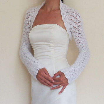 Bridal Shrug Wedding Bolero White Mohair Crochet Jacket