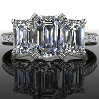 Forever Brilliant Moissanite Engagement Ring Three Stone Emerald Cut 2.57 CTW
