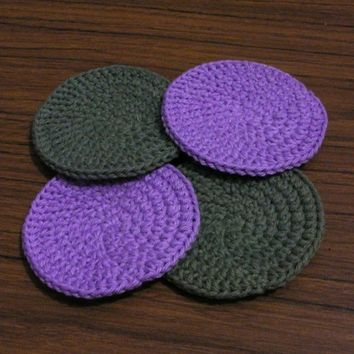 Crochet Coasters - Purple and Green - Set of 4
