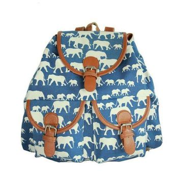 LMFON1O Day First Blue Elephant School Bag Travel Bag Canvas Lightweight College Backpack