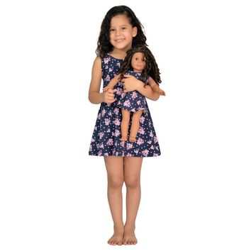 "Matching Girl & Doll Flower Dress Fits American Girl & 18"" Inch Dolls"