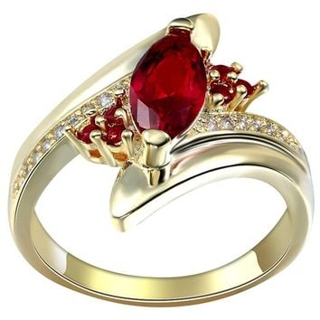 Yellow Gold Filled Ruby Sapphire Amethyst Gemstone Ring