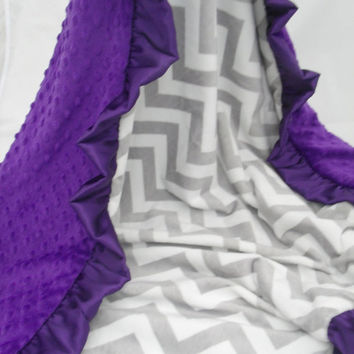 ON SALE Personalized Grey Chevron and Purple  Minky baby Blanket