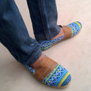 handmade Slip On shoes blue yellow ethno Ikat canvas men women Rangkayo sneakers Preorder