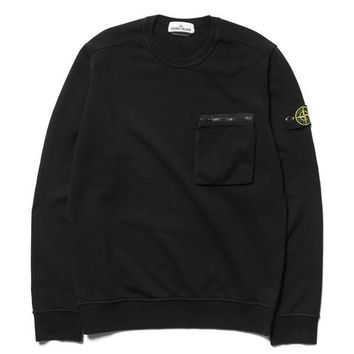 Cotton Fleece Garment Dyed Zip Chest Pocket Crewneck Black