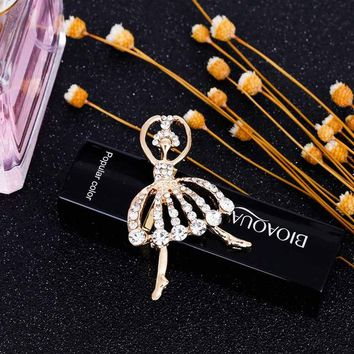 Temperament Ballet Girl Cartoon Metal Crystal Collar Pin Brooches For Women Brooch Pins Jewelry For Weddings