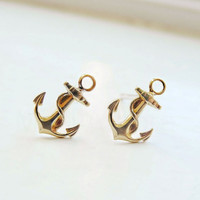Anchor Studs,Tiny Earrings,Gift Idea for Her,Nautical Anchor Jewelry,Sea Sailor Navy Earrings,Gold Brass Studs,Sterling Silver (255)