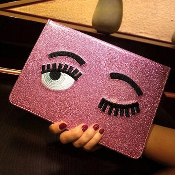 For Apple IPad Mini 1/2/3 For Ipad 2/3/4 Ipad Air 1 Air 2 Smart Case Blinking Wink Glitter Eyes PU Leather Alabasta Cover + Gift
