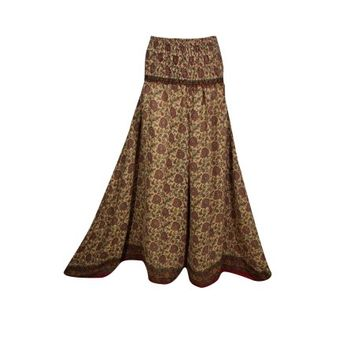 Mogul Womens Smocked High Waist Split Skirt Wide Leg Palazzo Pant Printed Gypsy Vintage Recycled Silk Sari Divided Skirts S/M - Walmart.com