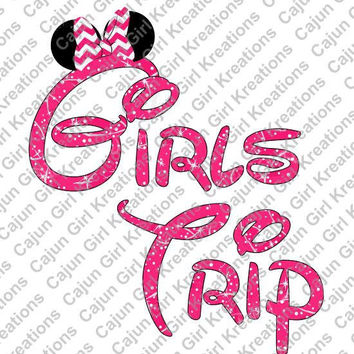 Girls Trip Minnie Mouse Ears Disney World Vacation Printable Digital Iron On Transfer Clip Art DIY Tshirts Instant Download