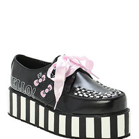 T.U.K. Hello Kitty Stripe Black & White Wrap Creepers