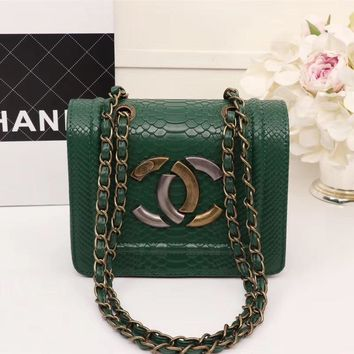 CHANEL WOMEN'S LEATHER INCLINED CHAIN SHOULDER BAG