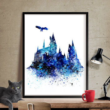 Hogwarts Castle Art, Wall Art Harry Potter, Hogwarts Poster, Movie Poster, Watercolor Print, Kids Decor,Art Decor, Children Room Decor (213)
