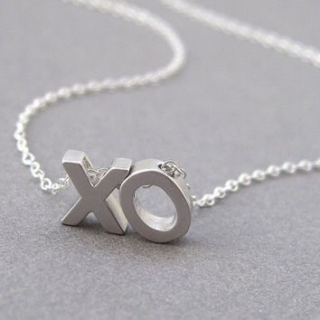 XO necklace, tiny rhodium silver initials, hug and kiss, sterling silver chain, small dainty petite minimalist modern jewelry