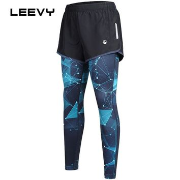 Leevy Autumn Winter Running Pants Women Compression GYM Fitness Yoga Tights Sports Leggings Trouser Space Pattern Tight Pants
