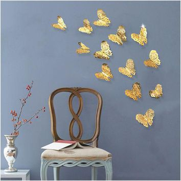 12pcs/lot 3d Pvc Wall Stickers  Butterflies Hollow Diy  Home Decor Poster Kids Rooms Wall Decoration Party Wedding Decor