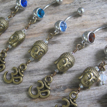 CHOOSE One Buddha Om Belly Ring, BRONZE Belly Button Ring, Birthstone Navel Piercing, Buddhist Yoga Body Jewelry, Buddha Aum Navel Ring